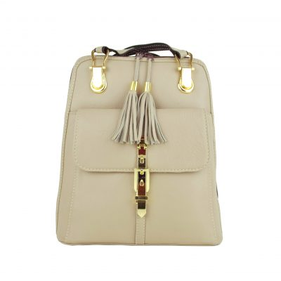 Moderný dámsky kožený ruksak z prírodnej kože v bežovej farbe-