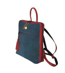 Dámsky ruksak z talianskej prírodnej hovädzej kože, imitácia rifloviny (3)