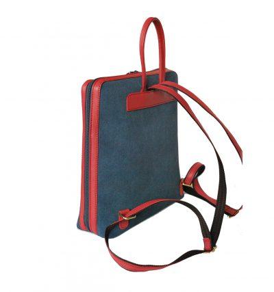 Dámsky ruksak z talianskej prírodnej hovädzej kože, imitácia rifloviny (4)