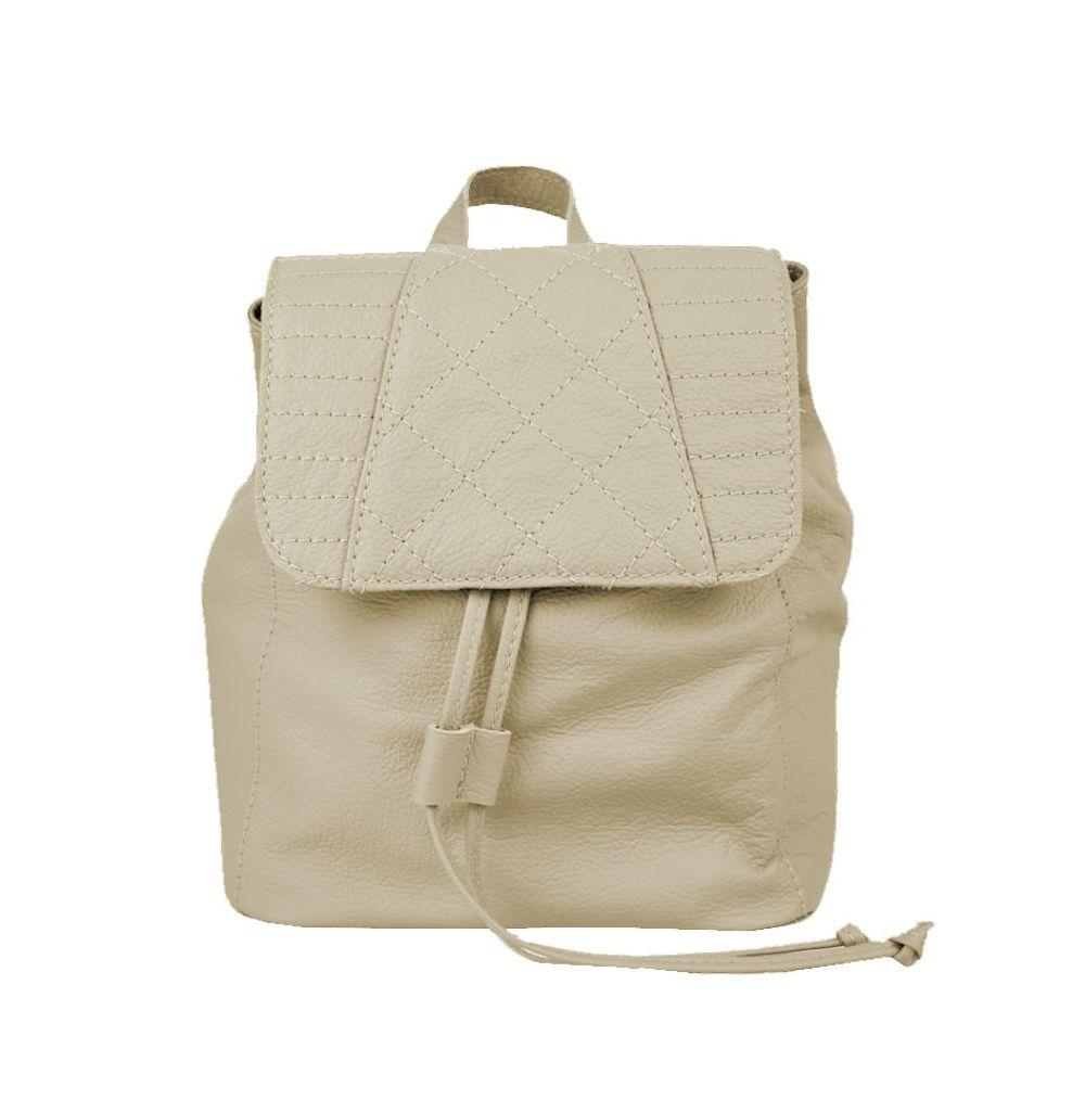 Dámsky módny kožený ruksak 8659 z prírodnej kože v bežovej farbe (1)