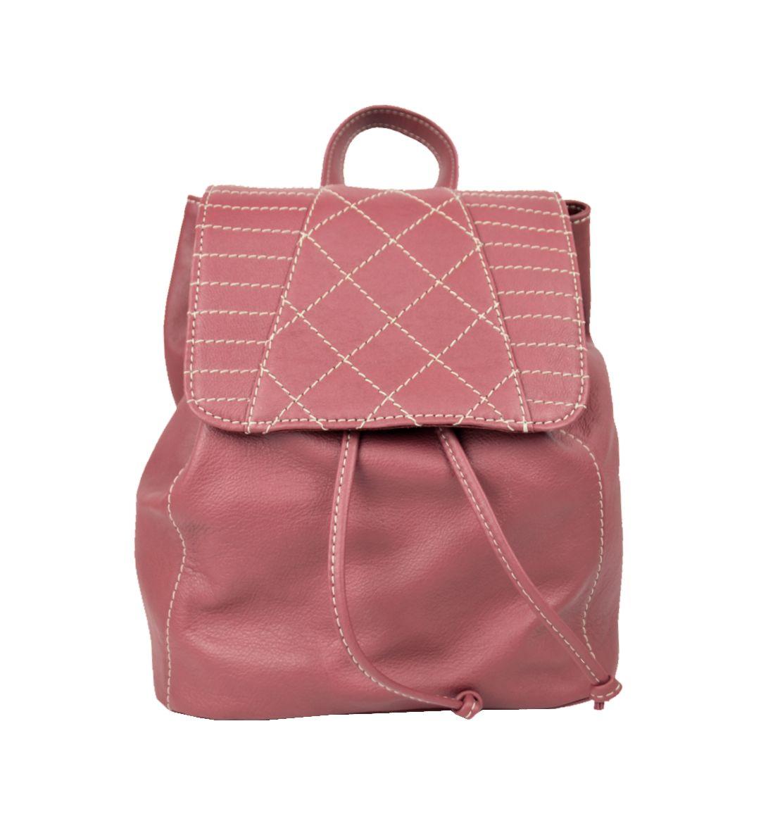 Dámsky módny kožený ruksak 8659 z prírodnej kože v bordovej farbe (2)
