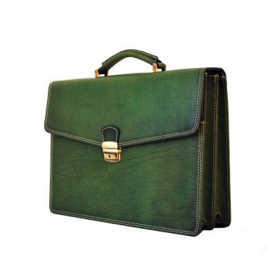 Luxusná kožená pracovná aktovka v zelenej farbe (2)