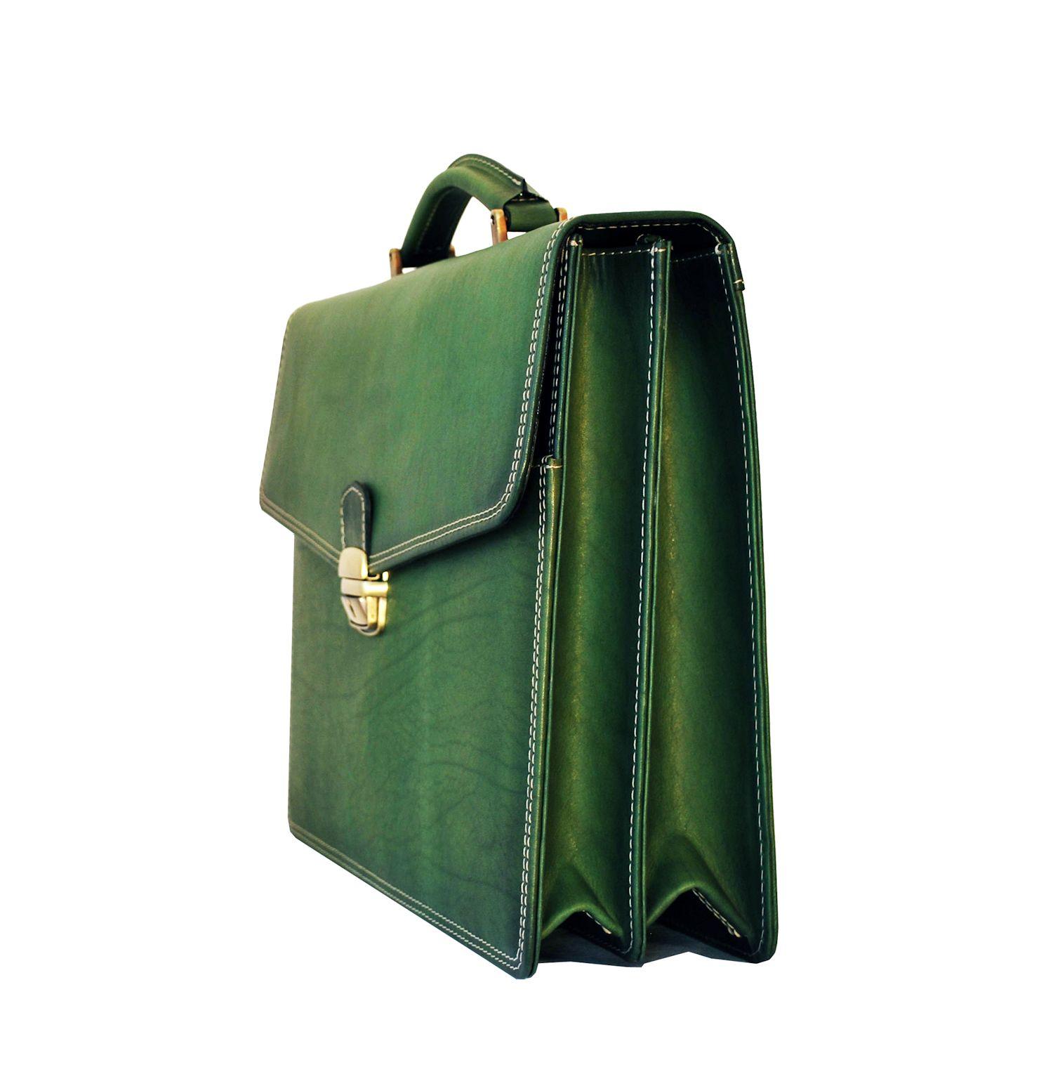 0af52b25a3 Luxusná kožená pracovná aktovka v zelenej farbe
