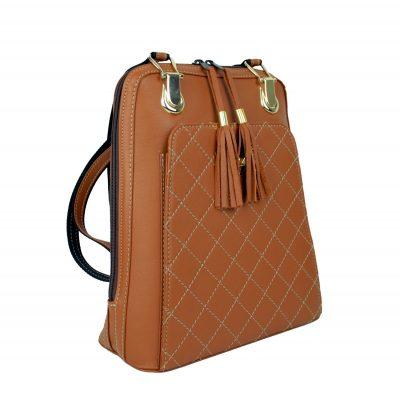 Kožený ruksak z pravej hovädzej kože č.8668 v horčicovej farbe (2)