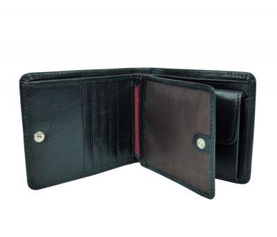 Peňaženka z prírodnej kože č.7992 v čiernej farbe. Kvalitné spracovanie a talianska koža. Ideálna veľkosť do vrecka a značková kvalita pre náročných. (3)