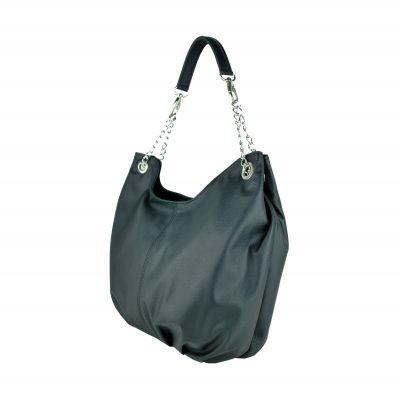 Dámska štýlová kožená kabelka v čiernej farbe (1)