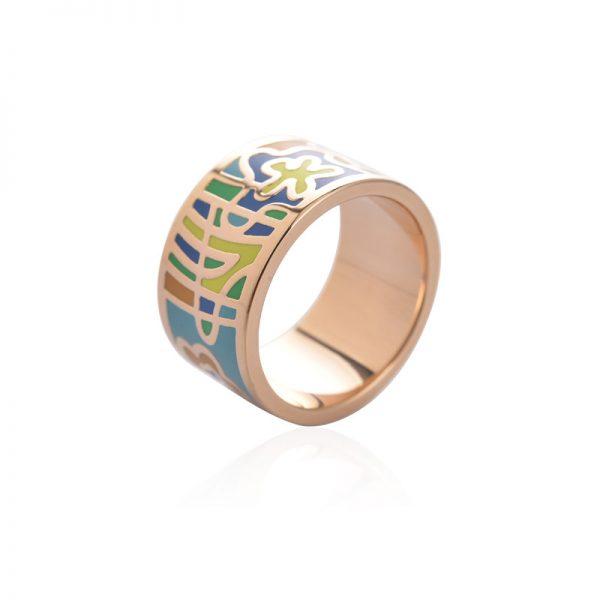 Elegantná brošňa v podobe prsteňa v zlatej farbe - vzor 1