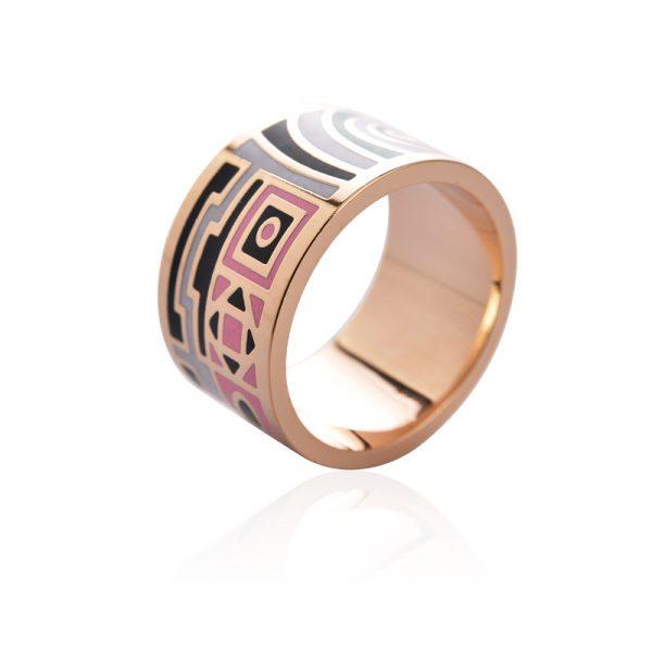 Elegantná brošňa v podobe prsteňa v zlatej farbe - vzor 4
