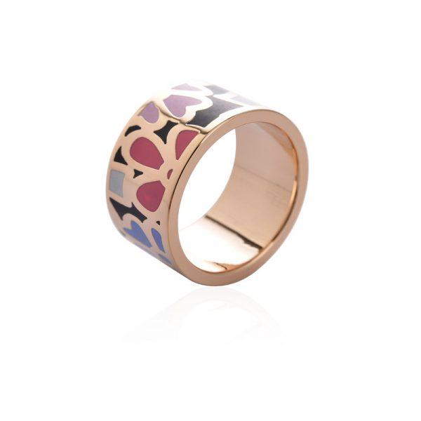 Elegantná brošňa v podobe prsteňa v zlatej farbe - vzor 7