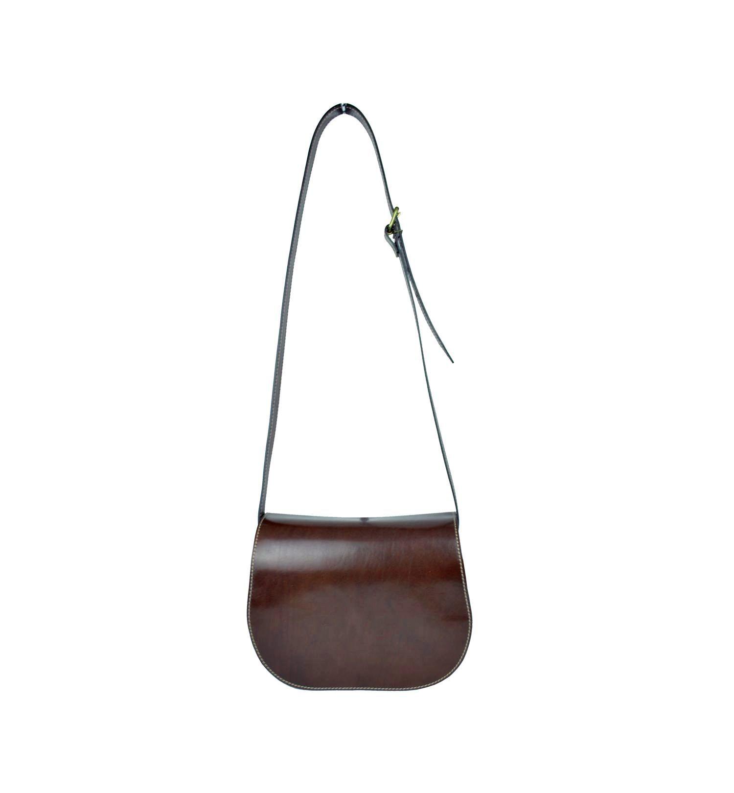 Kabelka kožená lovecká, ručne tieňovaná, skrytý magnet, hnedá farba (2)