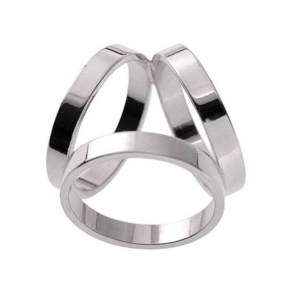 Luxusný troj-prstenec v striebornej farbe