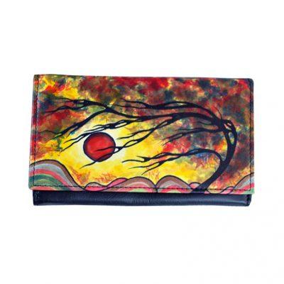 Maľovaná kožená peňaženka s motívom Wind