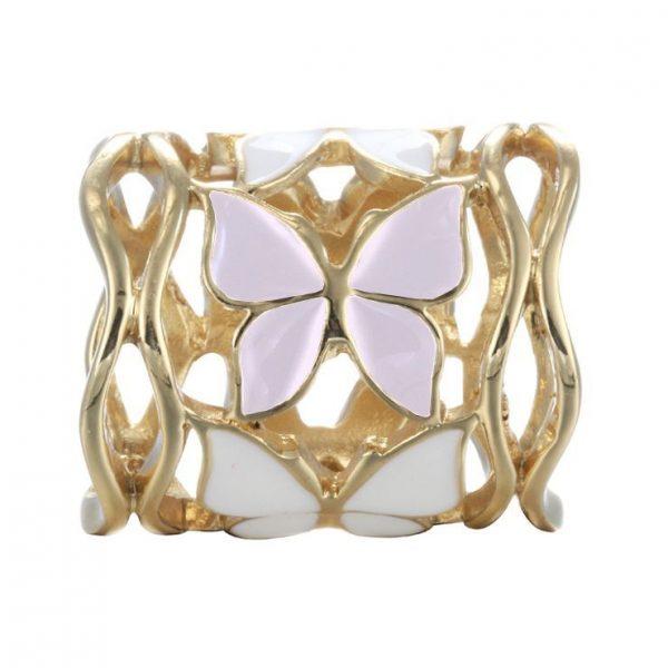 Prstencová ozdoba na šatky s motýľmi v zlatej farbe