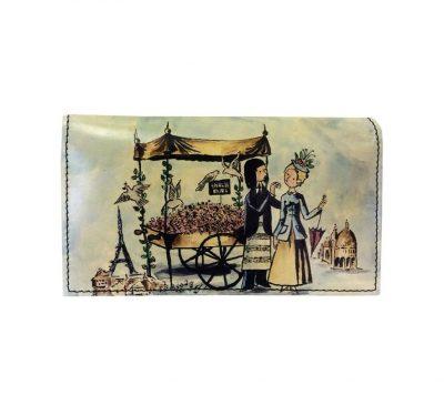 Ručne maľovaná kožená peňaženka 8542 s motívom Milenci