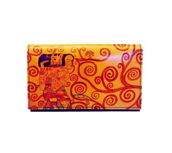 Ručne maľovaná kožená peňaženka inšpirovaná motívom Gustav Klimt