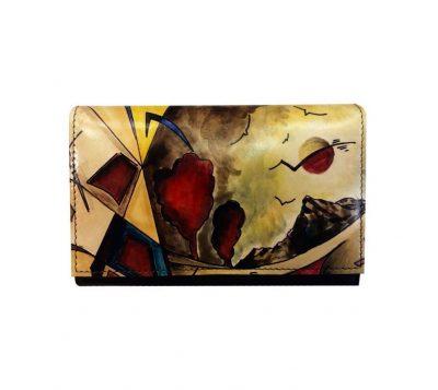 Ručne maľovaná kožená peňaženka s motívom Abstrakt