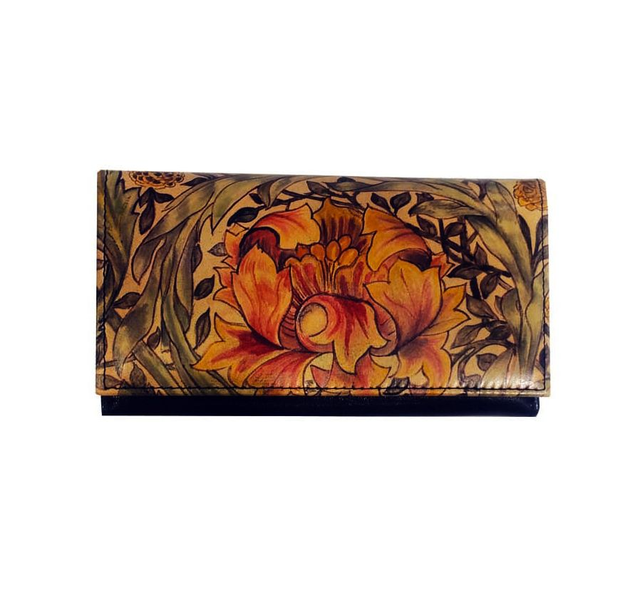 Ručne maľovaná kožená peňaženka s motívom Africkej ruže