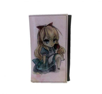 Ručne-maľovaná-kožená-peňaženka-s-motívom-Dievčatko-s-jablkom-č.8542