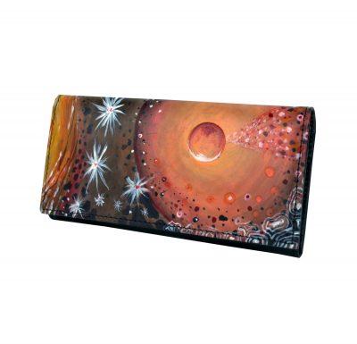 Ručne maľovaná peňaženka 7757 s abstraktným motívom, maľba na kožu (2)