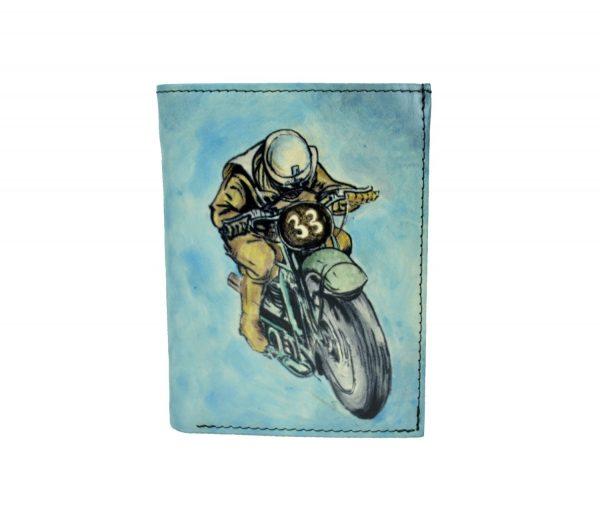 Ručne maľovaná peňaženka 8560 s motívom Motocross, modrá