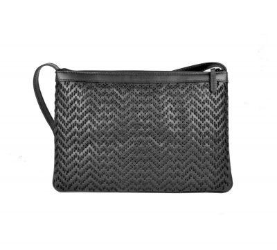 Kožená kabelka ručne vyšívaná v čiernej farbe (3)