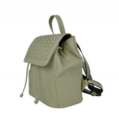 Kožený ručne vyšívaný ruksak v bežovej farbe (3)
