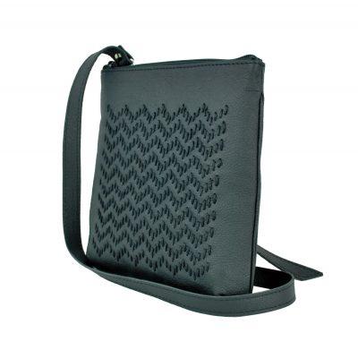 Ručne vyšívaná kabelka z pravej kože v čiernej farbe (4)