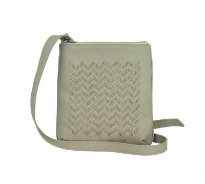Ručne vyšívaná kabelka z pravej kože v béžovej farbe (2)