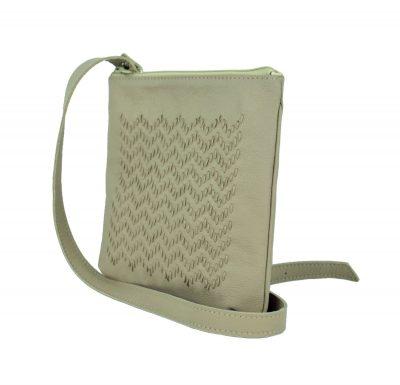 Ručne vyšívaná kabelka z pravej kože v béžovej farbe (3)