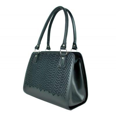 Ručne vyšívaná pracovná kabelka z pravej kože v čiernej farbe (5)