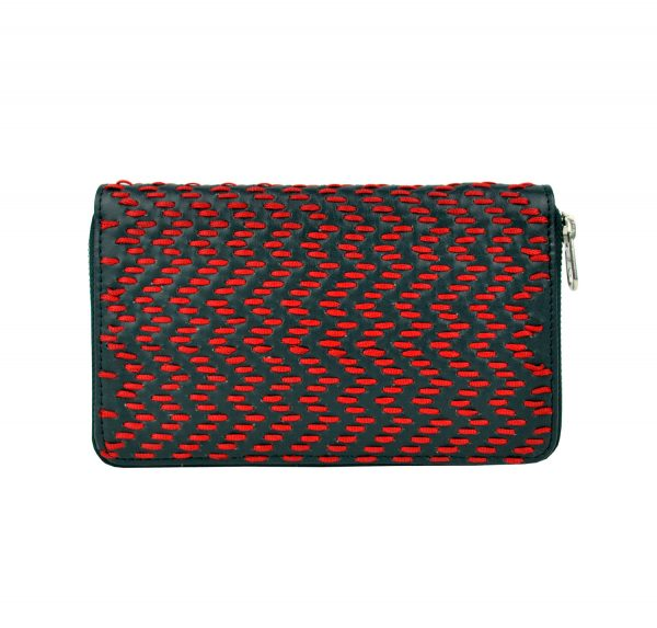 Dámska kožená peňaženka ručne vyšívaná, červené vyšívanie (1)