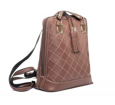Luxusný kožený ruksak z pravej hovädzej kože so strapcami v hnedej farbe (2)