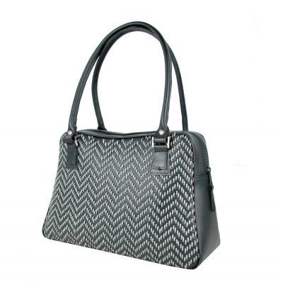 Ručne vyšívaná kabelka z pravej kože v čiernej farbe - šedé vyšívanie vyšívanie (2)