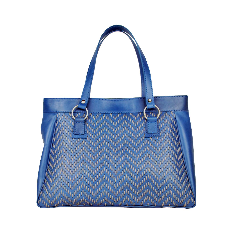 289ecc2a47 Ručne vyšívaná modrá kabelka z pravej kože - šedé vyšívanie (1)