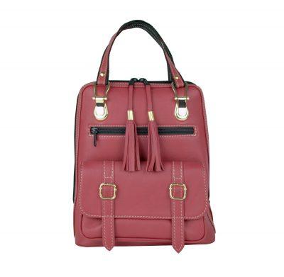 prirodný batoh, na turistika, do mesta, pravá koža, bordová a červená farba,dámsky ruksak, štýlový módny doplnok z kože, prirodná useň a koža, handmade ruksačik (1)