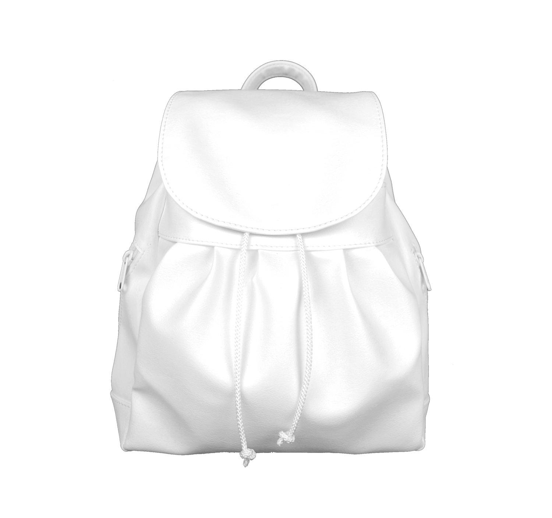 Dámsky módny kožený ruksak v bielej farbe (1)