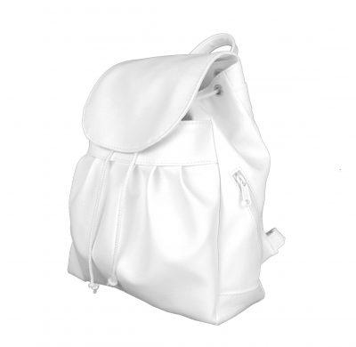 Dámsky módny kožený ruksak v bielej farbe (2)