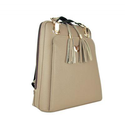 Kožený batoh z pravej hovädzej kože č.8668 v khaki farbe (4)
