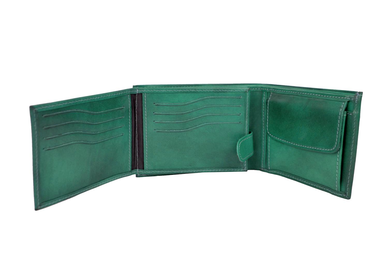 d3cf6fc852 Elegantná peňaženka z pravej kože č.8552 v tmavo zelenej farbe