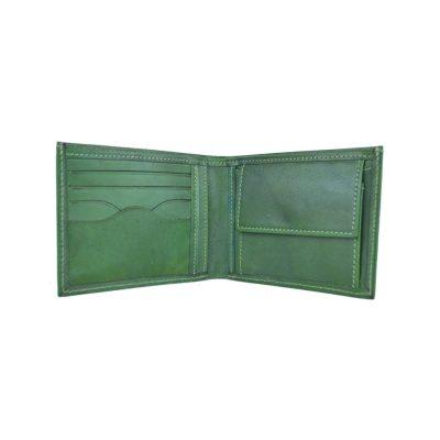 Elegantná peňaženka z pravej kože č.8406 v zelenej farbe, ručne natieraná