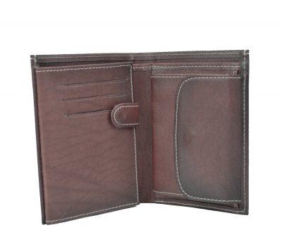 Luxusná kožená peňaženka č.8560 v tmavo hnedo fialovej farbe (4)