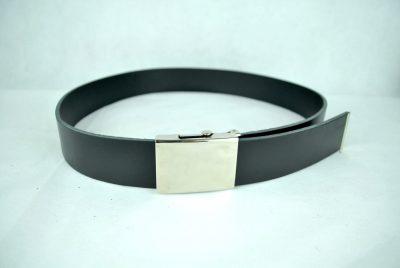 Pánsky luxusný opasok so striebornou prackou z pravej kože, 4cm, čierna farba (4)