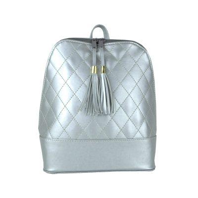 Dámsky kožený ruksak zo syntetickej kože v striebornej farbe (4)