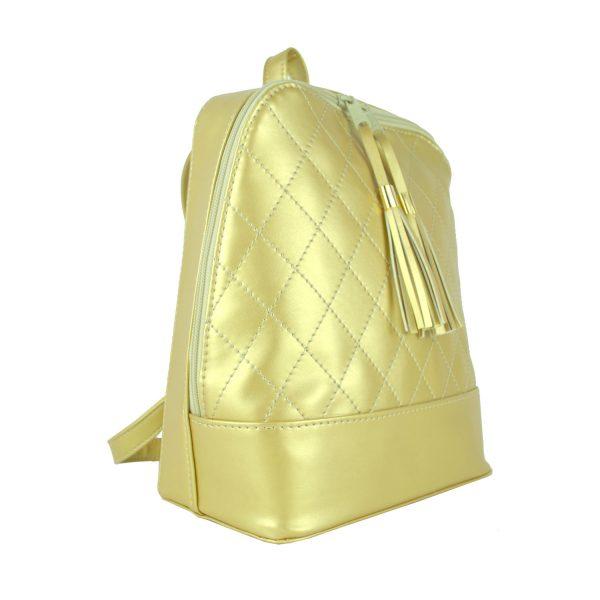 Dámsky kožený ruksak zo syntetickej kože v zlatej farbe (1)