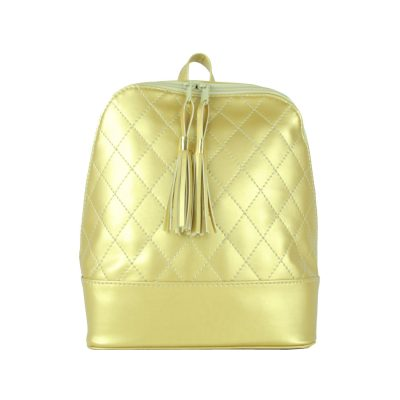 Dámsky kožený ruksak zo syntetickej kože v zlatej farbe (3)