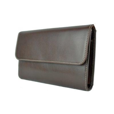 Kožená dámska peňaženka č.8465 v tmavo hnedej farbe (2)