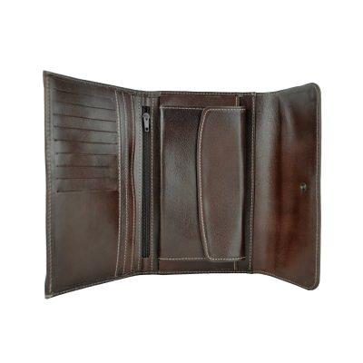 Kožená dámska peňaženka č.8465 v tmavo hnedej farbe (4)