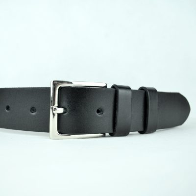 Kožený opasok 4cm, čierny (3)
