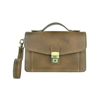 Luxusná kožená etuja, viacúčelové púzdro, ručne tamponovaná, svetlo hnedá (1)