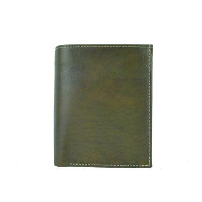 Kožená pánska peňaženka v tmavo zelenej farbe, ručne tieňovaná (2)